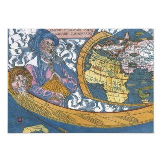 "Antique Ptolemaic World Map; Claudius Ptolemy 5"" X 7"" Invitation Card"