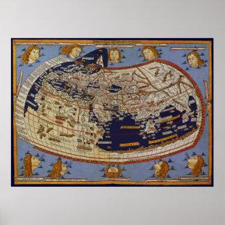 Antique Ptolemaic World Map, Johannes of Arnsheim Poster