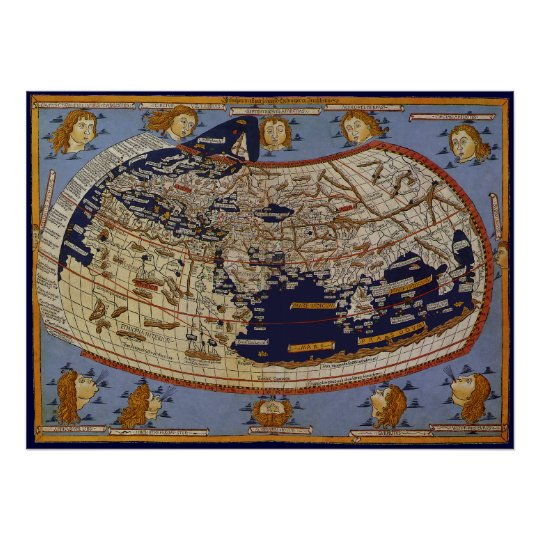 Antique Ptolemaic World Map, Johannes of Arnsheim Poster
