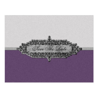 Antique Purple and Silver Save The Date Postcard