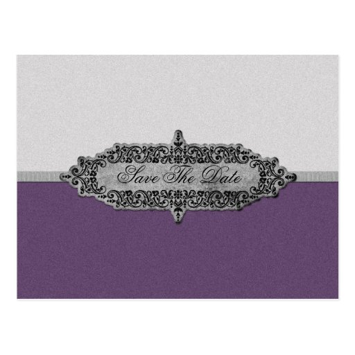 Antique Purple and Silver Save The Date Post Cards