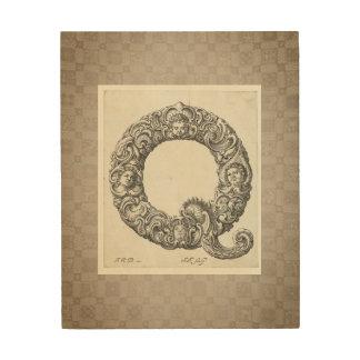 "Antique ""Q"" Initial Wood Print"