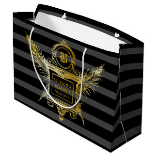 Antique Quill Feathers Classic Gold Frame Monogram Large Gift Bag