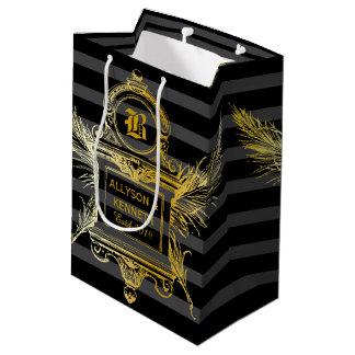 Antique Quill Feathers Classic Gold Frame Monogram Medium Gift Bag