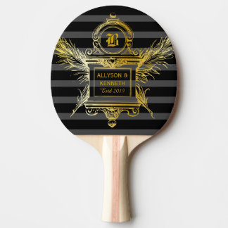 Antique Quill Feathers Classic Gold Frame Monogram Ping Pong Paddle