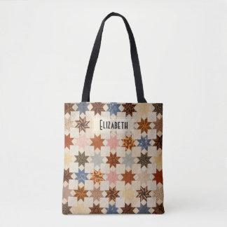 Antique Quilt | LeMoyne Star Patchwork Pattern Tote Bag