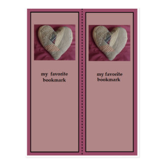Antique Quilted Heart Bookmark Postcard