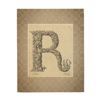 """Antique """"R"""" Initial Wood Wall Decor"""