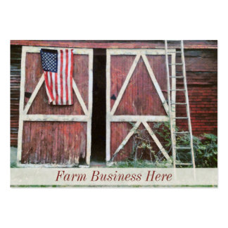 Antique Red Barn Doors With a Flag and Old Ladder Business Cards