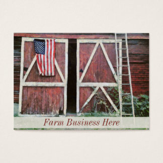 Antique Red Barn Doors With a Flag and Old Ladder Business Card