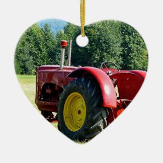 Antique Red Farm Tractor Ceramic Heart Decoration