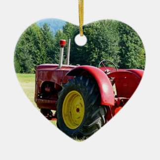 Antique Red Farm Tractor Christmas Ornament