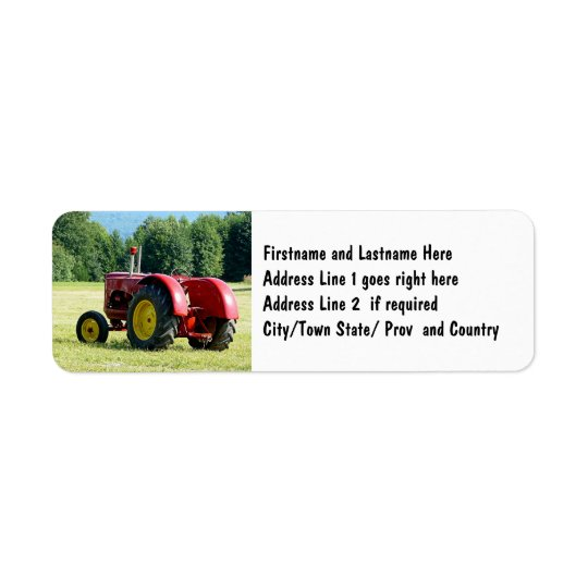 Antique Red Farm Tractor Return Address Label