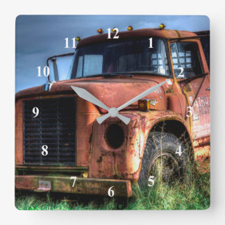Antique Red International Pickup Truck Square Wall Clock