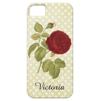 Antique Red Rose Parchment Polka Dots Barely There iPhone 5 Case