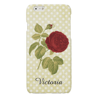 Antique Red Rose Parchment Polka Dots iPhone 6 Plus Case