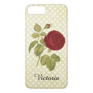 Antique Red Rose Parchment Polka Dots iPhone 7 Plus Case