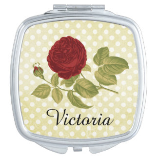 Antique Red Rose Parchment Polka Dots Personalized Compact Mirror