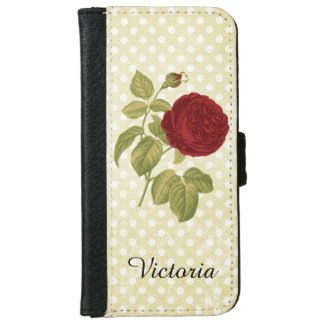 Antique Red Rose Parchment Polka Dots iPhone 6 Wallet Case