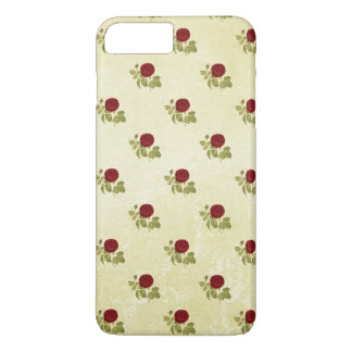 Antique Red Rose Pattern on Parchment iPhone 7 Plus Case
