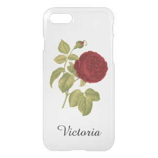 Antique Red Rose Personalized Victorian iPhone 7 Case