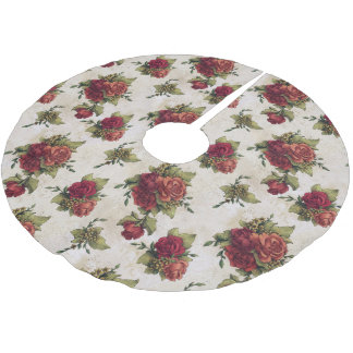 Antique Red Rose Wallpaper Brushed Polyester Tree Skirt