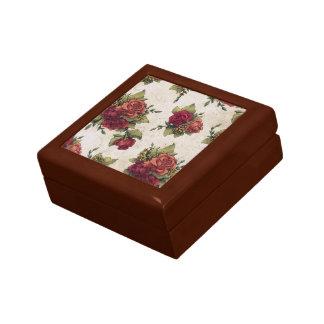 Antique Red Rose Wallpaper Trinket Boxes
