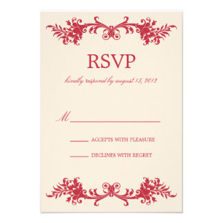 ANTIQUE RED RSVP PERSONALIZED INVITATION