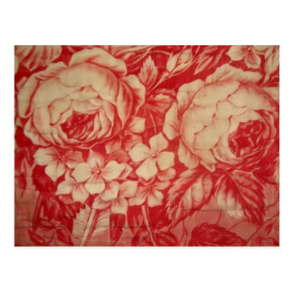 Antique Red Toile Postcard