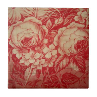 Antique Red Toile Small Square Tile