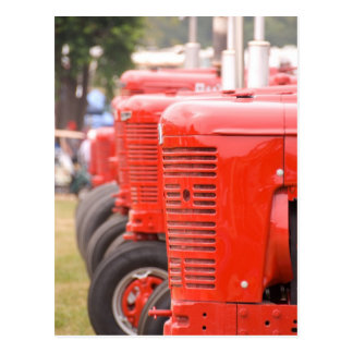 Antique red tractors postcard