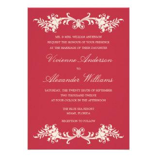 ANTIQUE RED WEDDING INVITATION