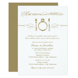 Antique Rehearsal Dinner | Eat Drink e Married Card