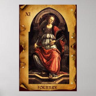 ANTIQUE RENAISSANCE TAROTS 11/ FORTITUDE Parchment Print