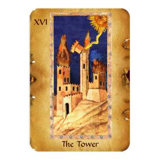 ANTIQUE RENAISSANCE TAROTS 16 / THE TOWER 9 CM X 13 CM INVITATION CARD