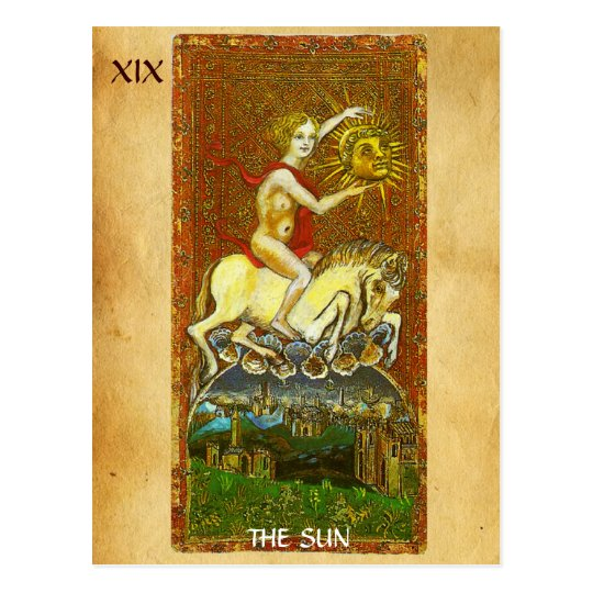 ANTIQUE RENAISSANCE TAROTS 19 / THE SUN POSTCARD