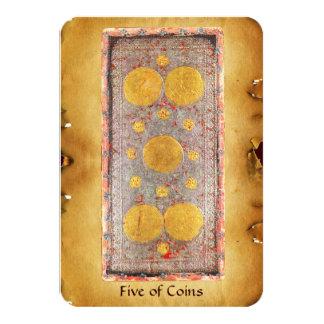 ANTIQUE RENAISSANCE TAROTS  / FIVE OF COINS CARD