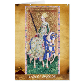 ANTIQUE RENAISSANCE TAROTS / LADY OF SWORDS GREETING CARD