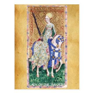 ANTIQUE RENAISSANCE TAROTS  / LADY OF THE SWORDS POSTCARD