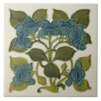 Antique Repro Art Nouveau Blue Flowers Tile