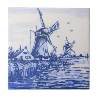 Antique Repro Blue Delft Dutch Windmill Tile