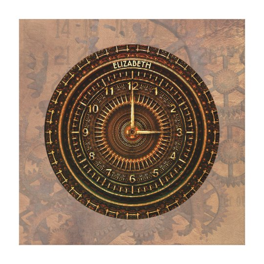 Antique Retro Steampunk Rusty Art Deco Clock Canvas