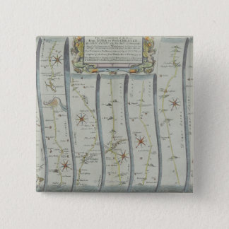 Antique Road Map 15 Cm Square Badge