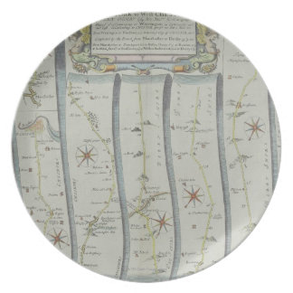 Antique Road Map Dinner Plate