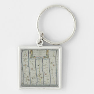 Antique Road Map Key Ring