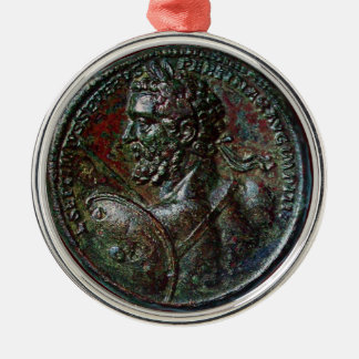 ANTIQUE ROMAN BRONZE MEDALLION SEPTIMUS SEVERUS CHRISTMAS ORNAMENT