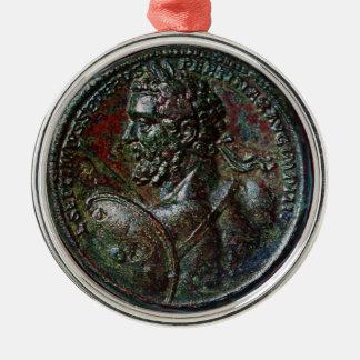 ANTIQUE ROMAN BRONZE MEDALLION SEPTIMUS SEVERUS Silver-Colored ROUND DECORATION