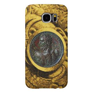 ANTIQUE ROMAN BRONZE MEDALLION WITH GOLD GRIFFINS