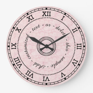 Antique Roman Numeral Light Pink Marble Effect Wall Clocks