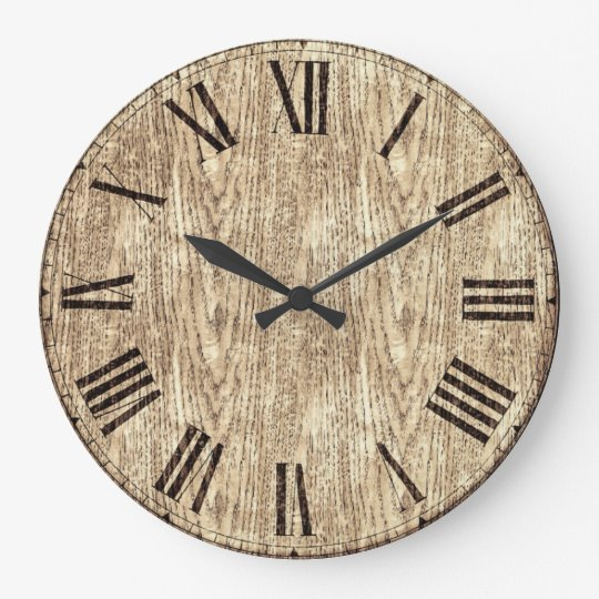 Antique Roman Numeral Wall Clock OnWood Background